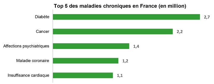 Top 5 des maladies chroniques en France (en million)